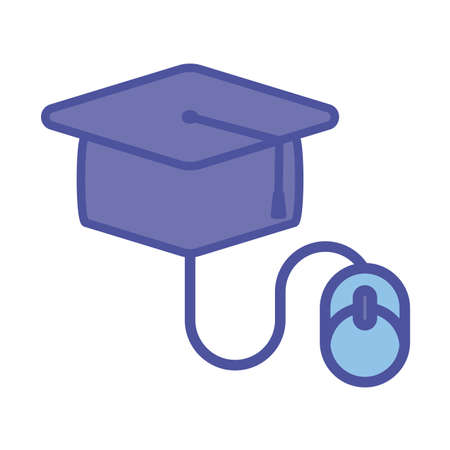 Graduation cap and mouse line and fill style icon design, Education online and elearning theme Vector illustration