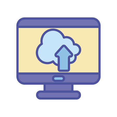 Cloud computing inside computer line and fill style icon design, Communication internet and connectivity theme Vector illustration