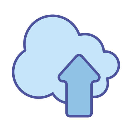 Cloud computing and upload arrow line and fill style icon design, Communication internet and connectivity theme Vector illustration  イラスト・ベクター素材