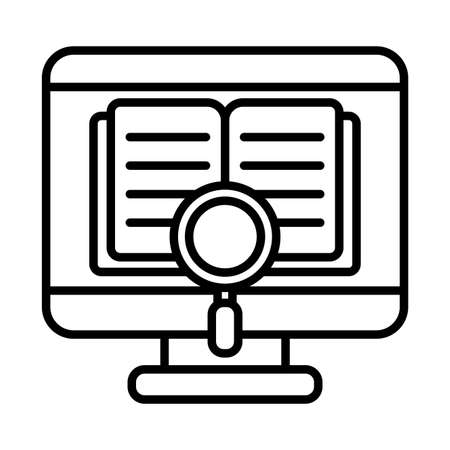 Ebook inside computer and lupe line style icon design, Education online and elearning theme Vector illustration