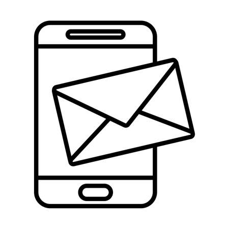 Envelope and smartphone line style icon design, Message email mail and letter theme Vector illustration 일러스트