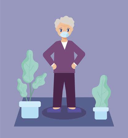 elderly care, old man on the living room vector illustration design Illustration