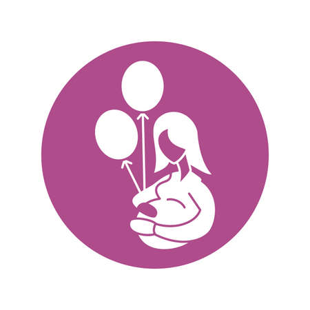 pregnant woman with helium balloons, silhouette style icon vector illustration design