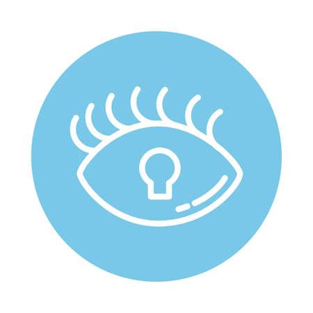 padlocked eye, block and flat style icon vector illustration design