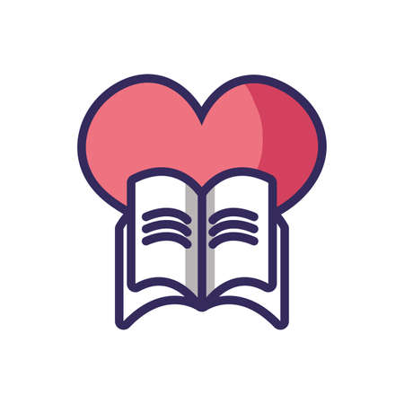 big heart and book icon over white background, colorful line and fill style, vector illustration
