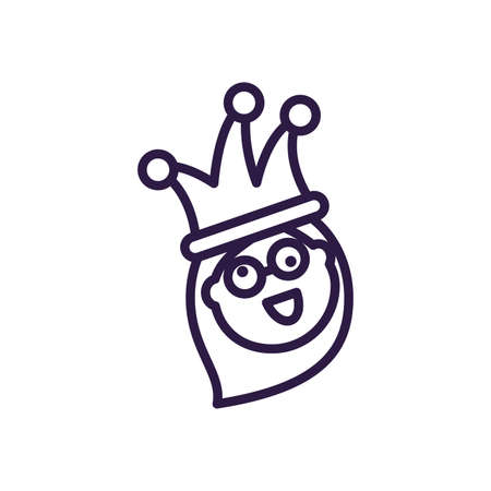 cartoon woman with jester hat and crazy glasses over white background, line style icon, vector illustration