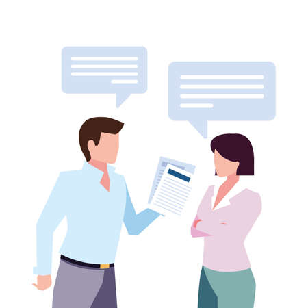 business couple with speech bubble on white background vector illustration design