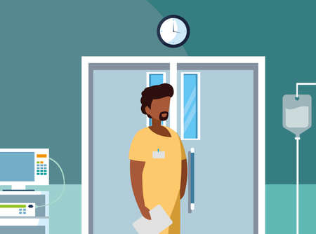 afro male medicine worker in operating theater vector illustration design