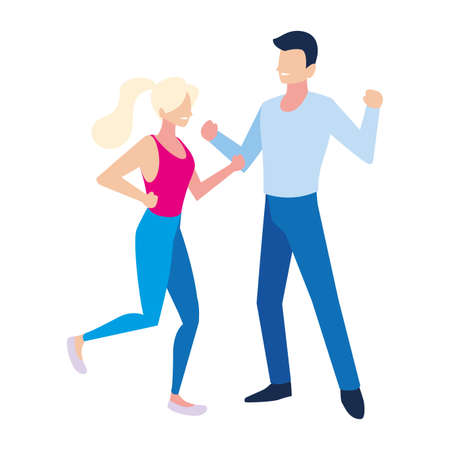 couple of people dancing on white background vector illustration design