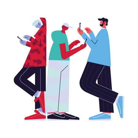 Les hommes connectés en ligne par différents moyens électroniques conception d'illustration vectorielle