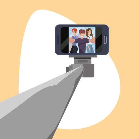 man with women taking selfie stick vector illustration