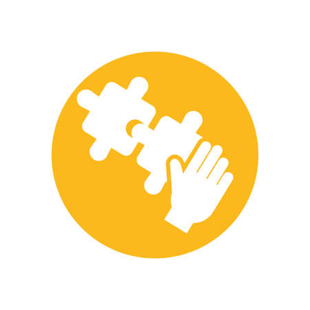 Puzzles with hand inside circle design, Jigsaw game object teamwork match toy element connection and solution theme Vector illustration