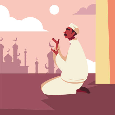 man muslim praying in mosque, ramadan kareem vector illustration design