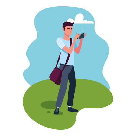 man taking a photo with background landscape vector illustration design