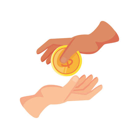 coin from hand to hand on white background vector illustration design