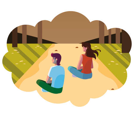 couple contemplating horizon in the forest scene vector illustration design