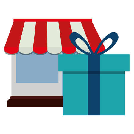 store facade building with gift vector illustration design