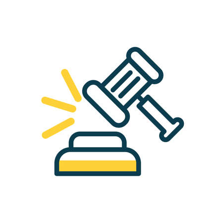 Hammer of justice law icon over white background, half color style, vector illustration