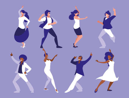 set of women in dance pose, party, dance club vector illustration design