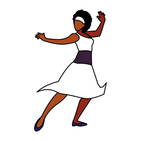 young woman in pose of dancing on white background vector illustration design