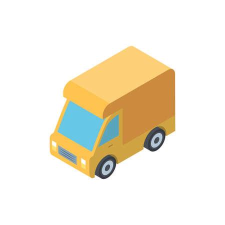 Isometric yellow truck design, Transportation vehicle transport wheel speed traffic road and travel theme Vector illustration