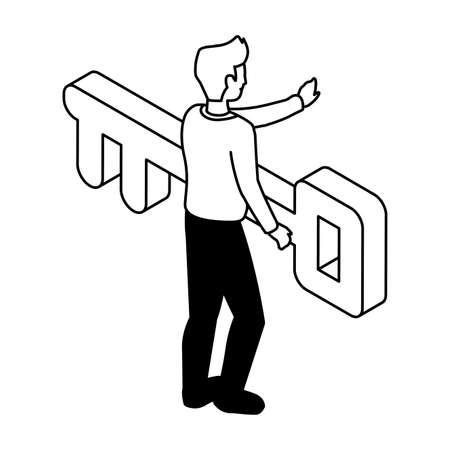 businessman with key on white background vector illustration design Illustration