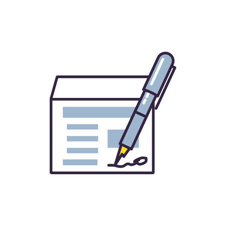 pen ink write with document vector illustration design