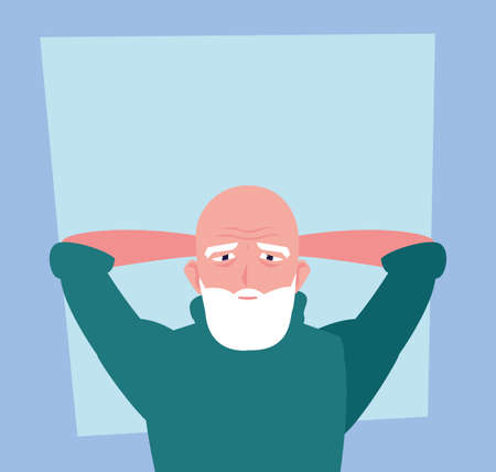 elderly man takes care of himself at home vector illustration design 向量圖像