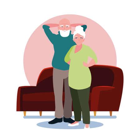 adorable old couple sharing at home vector illustration design Ilustração