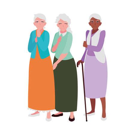 old people sharing at home vector illustration design Ilustração