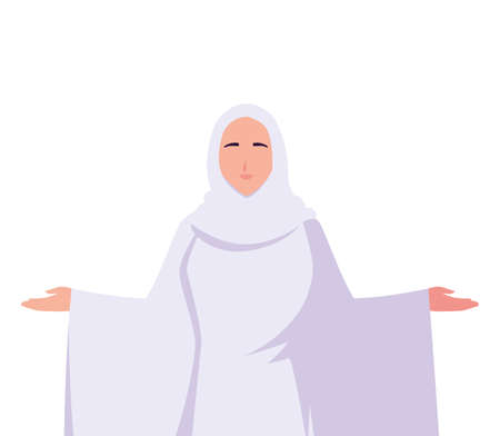 woman pilgrim hajj on white background vector illustration design