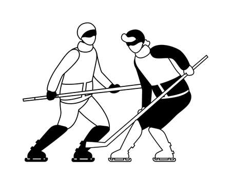 men playing ice hockey in white background vector illustration design 向量圖像