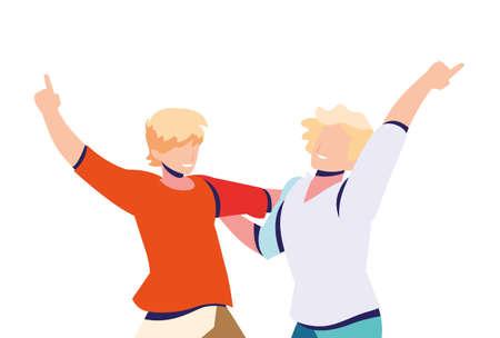scene of men in dance pose, party, dance club vector illustration design
