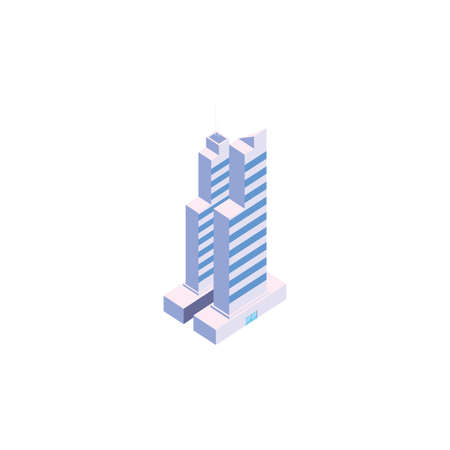 Isometric white building design, City architecture urban modern downtown contemporary metropolis exterior and construction theme Vector illustration