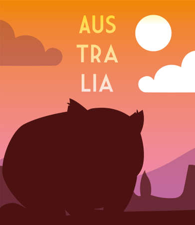 card with rodent and australia label vector illustration design