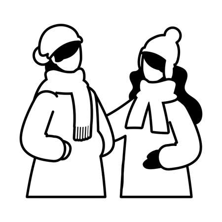 women with winter clothes on white background vector illustration design