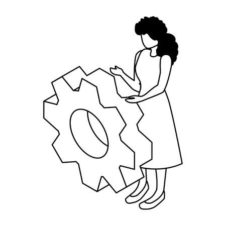 woman with gearwheel on white background vector illustration design