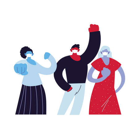 fighter people using face masks vector ilustration designe Ilustração