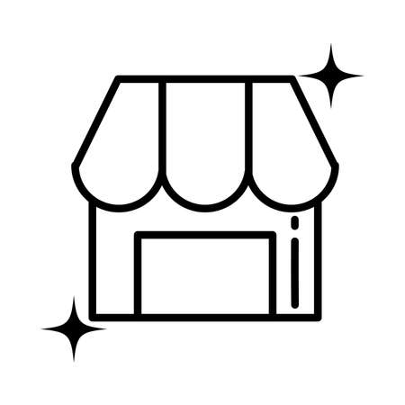 store with striped tent , line style icon Illusztráció