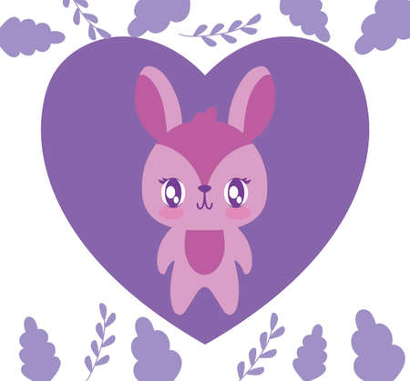 Rabbit cartoon heart and leaves design of love passion romantic valentines day wedding decoration and marriage theme Vector illustration