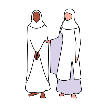 women pilgrim hajj standing on white background vector illustration design