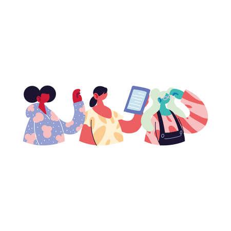 women sharing work methods online vector illustration design 版權商用圖片 - 148098700