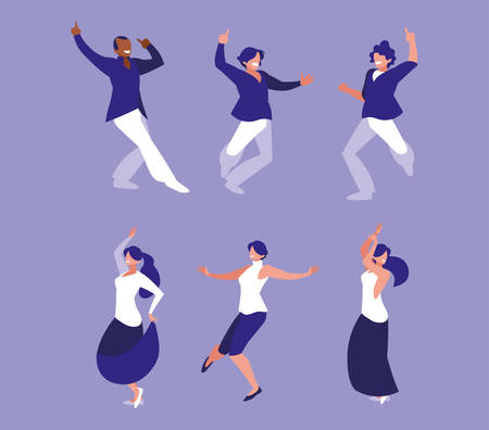 set of people dancing party, dancing club, music and nightlife vector illustration design
