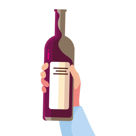 hand holding a bottle wine on white background vector illustration design