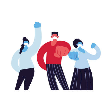 fighter people using face masks vector ilustration designe