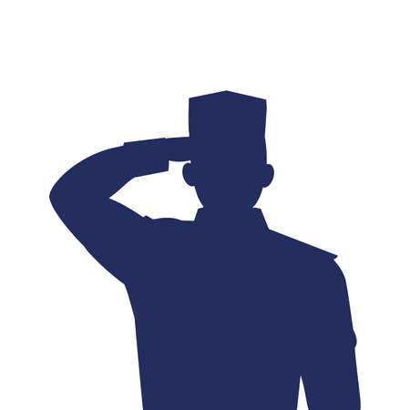 silhouette of man soldier of war on white background vector illustration design Vettoriali