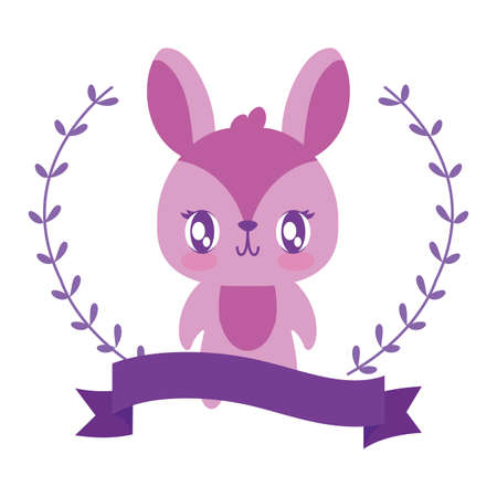 Cute rabbit cartoon and leaves wreath design, Animal zoo life nature character childhood and adorable theme Vector illustration