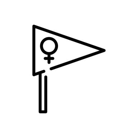 flag with female gender symbol over white background, line style icon, vector illustration 向量圖像