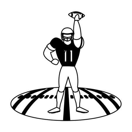 man football player of rugby , sportsman with uniform on stadium grass vector illustration design Illustration