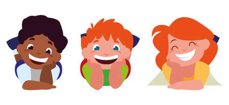 happy little interracial kids characters vector illustration design Иллюстрация